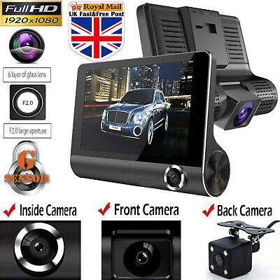 "1080P 4""Car DVR Dual Lens Dash Cam Front and Rear Video Recorder Camera G-sensor"