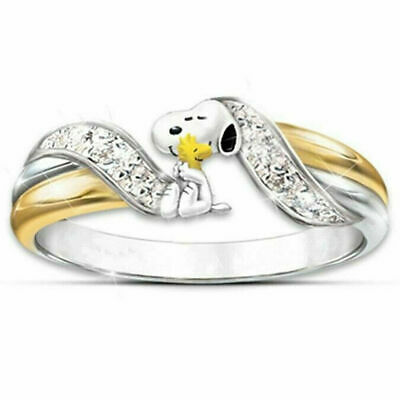 Creative Cartoon Dog Two Tone White Sapphire Ring 925 Silver Women Party Jewelry