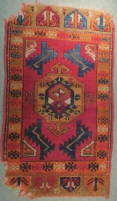 Antique Turkish Oriental Tribal Rug COLORS Fragment Yastik As Is Pillow Fragment
