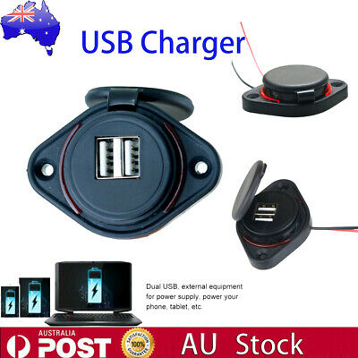 12-24V 3.1A Dual USB Charger Power Socket Adapter Charging Panel Mount Car Boat