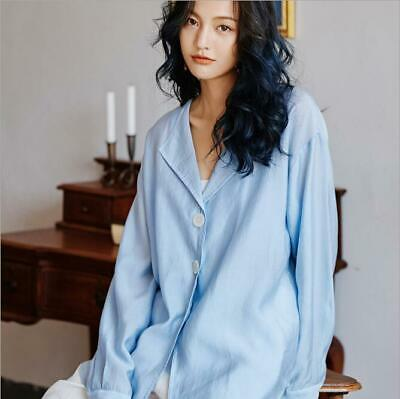 Womens New Fashion Casual Lapel Loose Shirt Long Sleeve Pure  Color OL Blouses