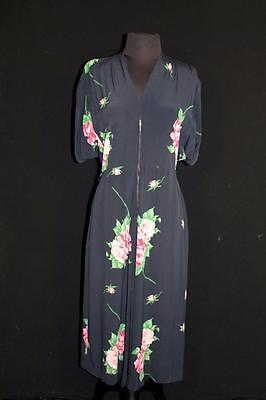 Very Rare Vintage 1940'S Wwii Era Black Floral Silky Rayon Dress Size 8-10