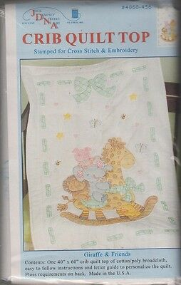 """1 Jack Dempsey """"Giraffe and Friends"""" Stamped XStitch-Embroidery Crib Quilt Top"""
