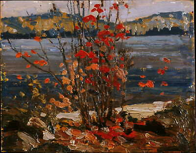 Handmade Oil Painting repro Tom Thomson Lake and Red Tree