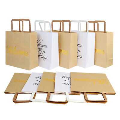 Ourwarm 5pcs Brown White Large Kraft Paper Gift Bags Welcome To Our Wedding Bags
