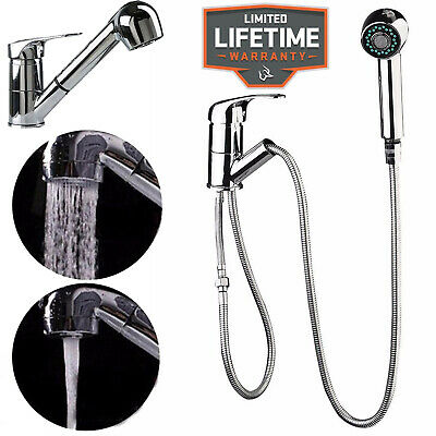 Modern Monobloc Kitchen Mixer Tap Single Lever with Pull Out Hose Spray Chrome
