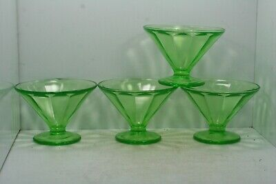 Lot of 4 Vintage Federal Glass Green Depression Footed Optic Panel Sherbet Dish
