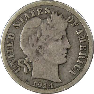 1914 10c Barber Silver Dime US Coin VG Very Good