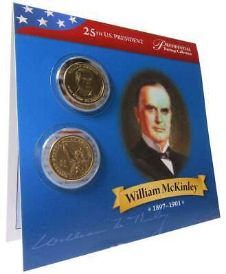 2013 P&D $1 William McKinley Presidential 2 Coin Set Lot Uncirculated Bifold