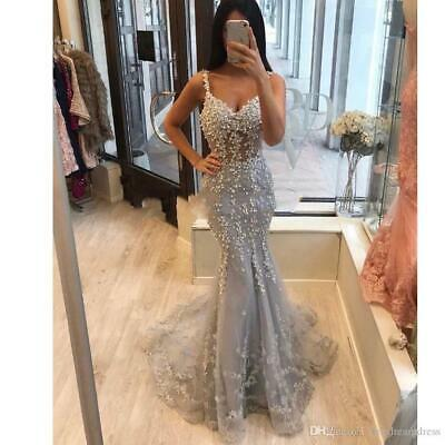 Spaghetti Straps Lace Mermaid Prom Dresses Tulle Lace Applique Evening Gowns