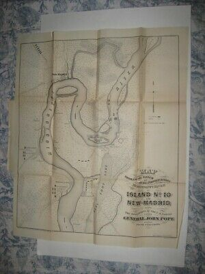 Antique 1866 New Madrid Island No 10 Missouri Civil War Map Mississippi River Nr