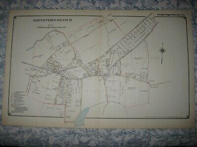 Vintage Antique 1917 Smithtown Branch Long Island New York Handcolored Map Fine