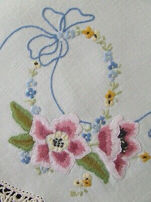 Superb Hand Embroidered Vintage Centre - Pink Anemones & Blue Bows -Crochet Edge