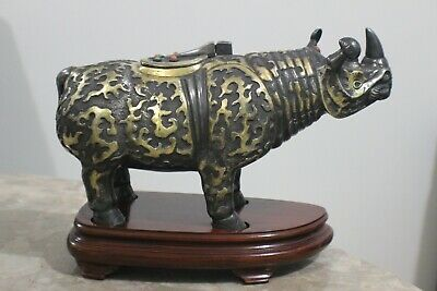 """UNIQUE Asian Silver and Gold Incense Burner Rhino Sculpture """"Marked"""""""