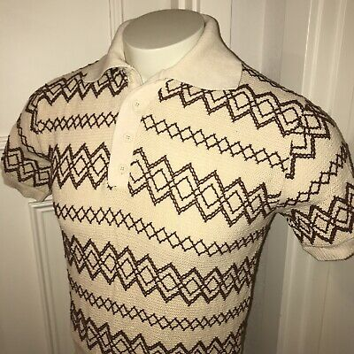 Vtg 60s 70s Cream Brown KNIT Mens SMALL Short Sleeve Sweater Shirt pullover polo