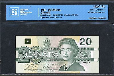 1991 Bank of Canada $20. Major Print Out of Register Error. CCCS Choice Unc-64.