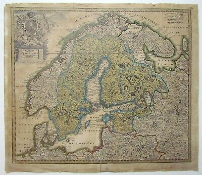 17th century antique MAP OF SCANDINAVIA & NORTH OF RUSSIA