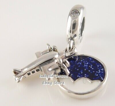 PROPELLER PLANE Authentic PANDORA Travel VACATION Charm 798027CZ NEW w POUCH!
