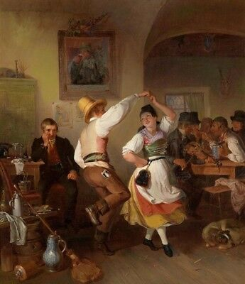 """perfect 24x36 oil painting handpainted on canvas""""dance in the tavern """"@11173"""