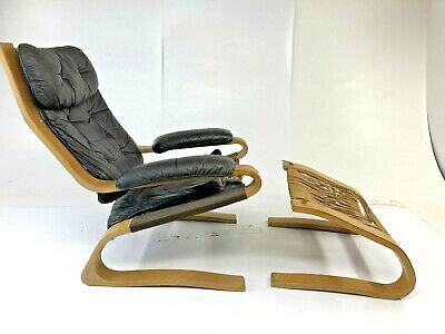 Vintage LEATHER LOUNGE CHAIR & FOOT STOOL danish modern ottoman bentwood set 70s