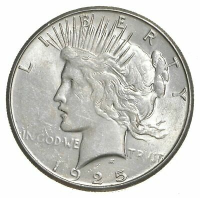 (1) AU $1 1925 Peace Silver Dollars Dripping w luster Almost Unc 90% Bulk & Save