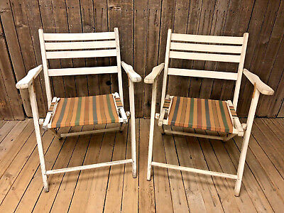 Vintage WOOD FOLDING CHAIR PAIR white country wooden Patio Pool Steamship porch