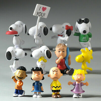 12pcs Peanuts Charlie Brown Snoopy Lucy Franklin Figure Cake Topper Play set Toy