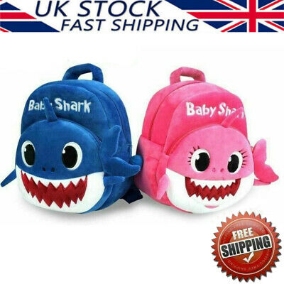 Baby Shark Soft Backpack Cartoon Plush Book Bag Kids Toddlers XMAS Gifts Present