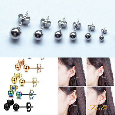 Classic Mens Womens Stainless Steel Round Silver Ball Bead Ear Stud Earrings 2PC