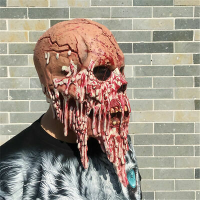 Halloween Bloody Zombie Mask Face Melting Latex Trick Costume Walking Dead Scary