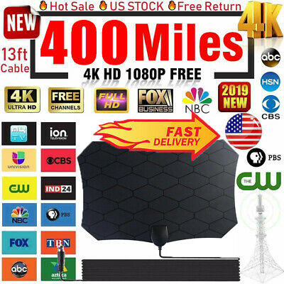 400 Miles Clear Indoor Digital TV HDTV Antenna [2019 Latest] UHF/VHF/1080p 4K