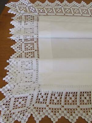 White Antique Tablecloth - Deep Filet Crocheted Edges - Embroidered Butterflies