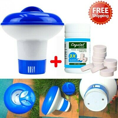 Pool Cleaning (100 Tablets) Floating Chlorine Hot Tub Chemical Dispenser Cleaner