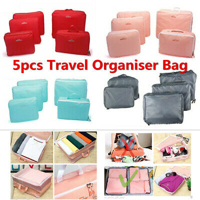 5PCS Clothes Pouch Packing Cube Storage Travel Luggage Suitcase Organizer Bag