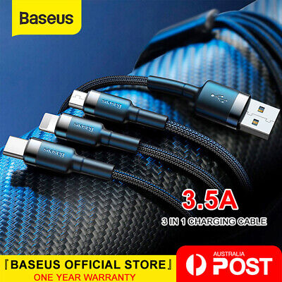 Baseus 3 in 1 USB Cable USB-C Lightning Charging Cord for Samsung Google iPhone