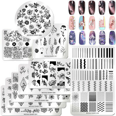 Nail Art Image Stamping Plates Printing Templates Flowers Nature NICOLE DIARY