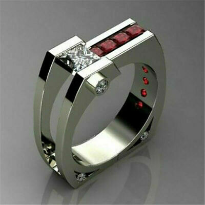Unique Geometry Ruby White Topaz Ring 925 Silver Wedding Party Jewelry Size 6-10