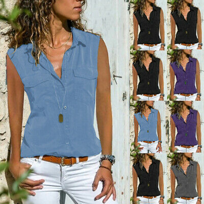 Womens Summer Sleeveless Loose Button Tank Vests Tops Camisole T Shirt Blouse LA