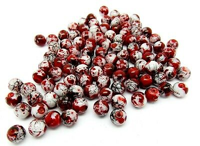 100 Red / White Drawbench Glass Beads - 8mm - Round - P00240XG