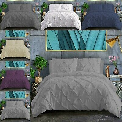 Pinch Pleated Pintuck Duvet Cover With Pillowcase Double Super King Bedding Sets