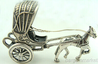 Stunning Silver Miniature Horse Drawn Gig Buggy & Driver #050