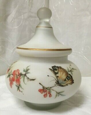 Italian White Frosted Satin Glass Ginger Jar - Flowers & Butterfly