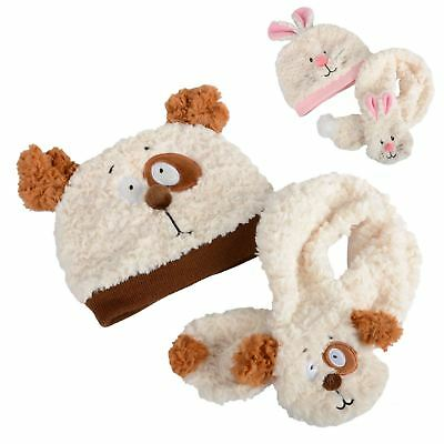 New Kids Boys Girls Toddlers Super Soft  Hat & Scarf Set Teddy Bear Bunny Rabbit