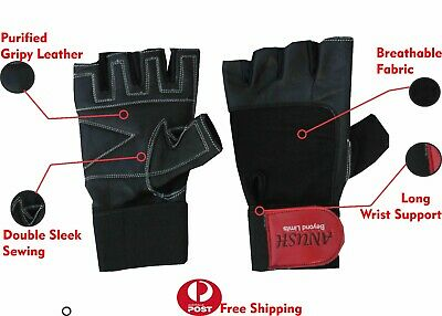 Weight lifting bodybuilding GYM Fitness Leather Gloves Training Slim Fitting