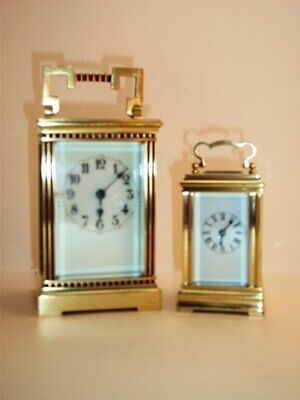 Antique MINIATURE brass carriage clock & key. Restored and serviced July 2019