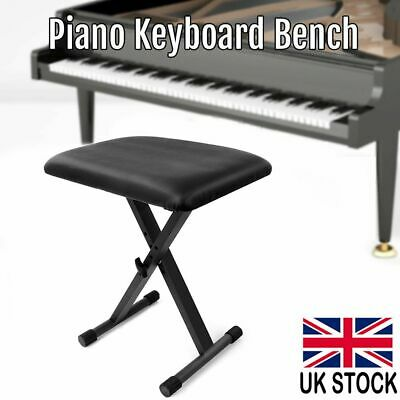 Height Adjustable Leather Piano Bench X Frame Keyboard Stool Black Padded Seat