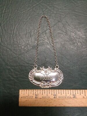 Vintage Wallace Sterling Silver Vodka Liquor Decanter Bottle Tag Label Marker