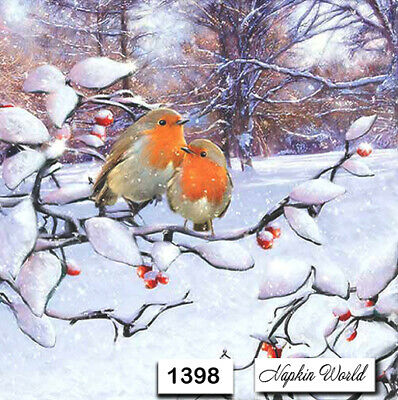 TWO Individual Paper Luncheon Decoupage Napkin 1398 BIRDS WINTER ROBINS SNOW