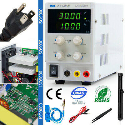 Digital DC Power Supply Variable Bench 30V 10A with Alligator Leads Power Cable