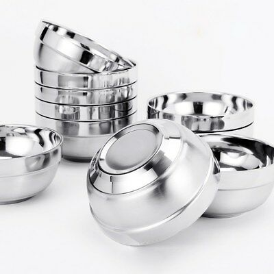6pcs Stainless Steel Double Layer Rice Bowls Metal Insulated Soup Bowl for Kid